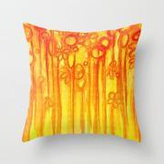 SUMMER SENTIMENTS Decorative 18 x 18 Throw Pillow Cover, Bright Abstract Floral Garden Bold Summer Yellow Red Orange Flowers Painting