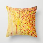 WHEN IT FALLS Original Art Throw Pillow Cover 18 x 18 inch Autumn Winter Leaves Abstract Acrylic Painting Christmas Red Orange Gold Gift