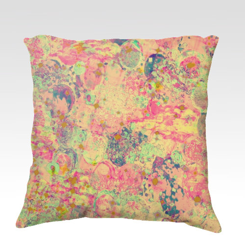 TIME FOR BUBBLY, Always - Fine Art Velveteen Throw Pillow Cover, 18 x 18 Abstract Warm Pink Blue Green Modern Home Decor Whimsical Painting