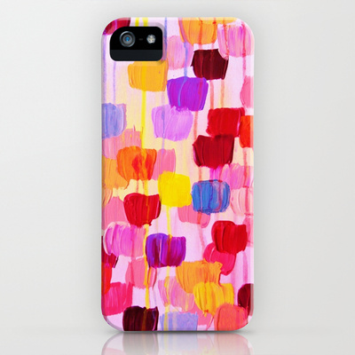 DOTTIE IN PINK iPhone 4 4S iPhone 5 5S 5C Case Hard Plastic Cover Stylish Polka Dots Rainbow Colors Pink Original Abstract Acrylic Painting