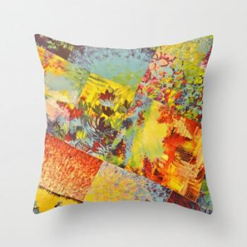 COLORFUL INDECISION 3 - Throw Pillow 18 x 18 inches Wild Vivid Rainbow Abstract Acrylic Painting Mixed Pattern Pretty Art Gift
