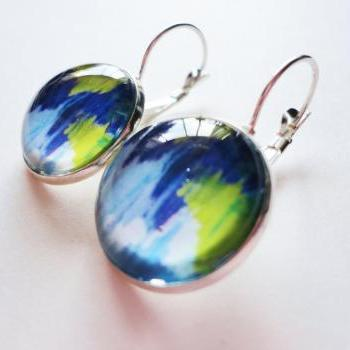 WINTER DREAMING Beautiful Handmade Fine Art Earrings Purple Green White Glass Dome Silver Plated 18mm French Clasp Lever Back Dangle Style