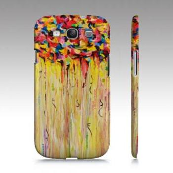 RAINING SUNSHINE Samsung Galaxy S3 or GS4 Plastic Cell Phone Case Cover Protective Colorful Art Abstract Acrylic Painting