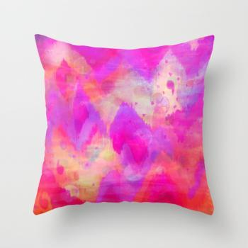 BOLD QUOTATION, Revisited - Decorative 18 x 18 Pillow, Throw Cushion Cover Intense Raspberry Pink Vibrant Abstract Watercolor Ikat Pattern