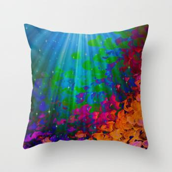 UNDER THE SEA Bold 18x18 Decorative Throw Pillow Cover Colorful Abstract Acrylic Painting Mermaid Ocean Waves Splash Water Rainbow Ombre