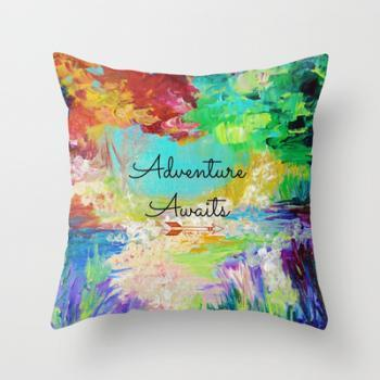 ADVENTURE AWAITS Wanderlust Typography Fine Art Throw Pillow Cover 18x18 Explore Summer Nature Rainbow Abstract Hipster Painting