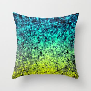 OMBRE LOVE Bold Colorful Decorative Throw Pillow Cover 18x18 Starry Night Glitter Abstract Painting Midnight Blue Mint Turquoise Yellow